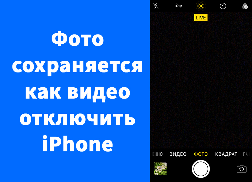 Фото на iPhone сохраняется как видео анимация – выключить