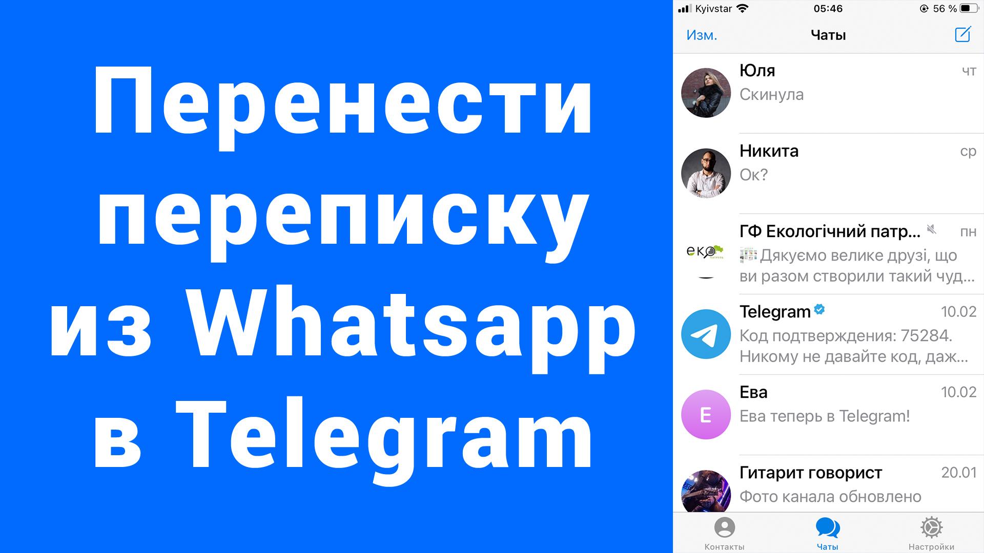 Как перенести переписку чат из WhatsApp в Telegram iPhone
